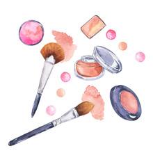 Set Of Decorative Cosmetics: Powder, Blush, Eyeshadow And Brushes Isolated On White Background. Hand Drawn Watercolor Illustration.