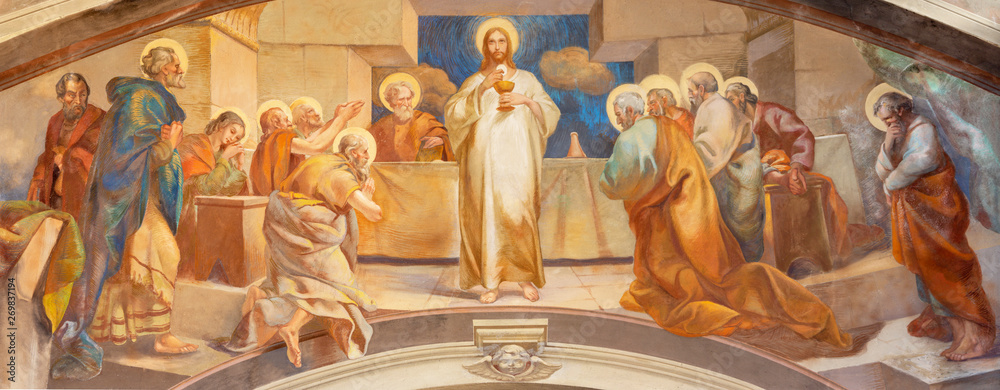 Fototapeta COMO, ITALY - MAY 9, 2015: The fresco of Last Supper in church Chiesa di San Andrea Apostolo (Brunate) of by Mario Albertella (1934).
