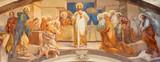 COMO, ITALY - MAY 9, 2015: The fresco of Last Supper in church Chiesa di San Andrea Apostolo (Brunate) of by Mario Albertella (1934).