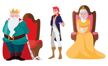 Prince Charming With Queen And King On Throne Characters