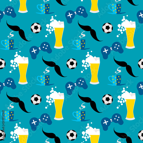 seamless-pattern-with-male-iconic-elements-with-beer-coffee-soccer-ball-and-gamepad