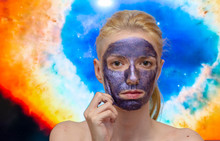 Blonde Model Wearing A Galaxy, Sparkle Peel Off  Mask