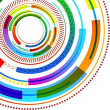 Vibrant Multicolored Concentric Circle Disk Pattern Different Textures Business Empty Template For Layout For Invitation Greeting Card Promotion Poster Voucher