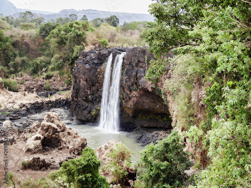 Fototapeten Forest river Waterfall at the source of blue nile in the dry season, Ethiopia