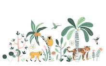 Rainforest Flora And Fauna Hand Drawn Vector Illustrations Set. Tiger, Chameleon And Colibri. Animals And Flowers. Exotic Trees And Plants. Jungle Animals Poster, T Shirt Prints, Design Elements