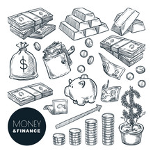 Money And Finance Vector Sketc...