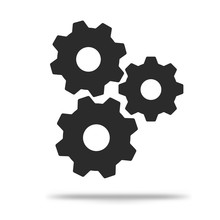 Flat Gear Icon Simple, Modern Look Isolated On A White Background.
