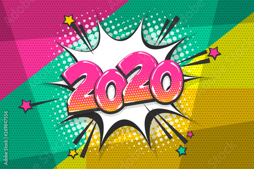 Pop Art 2020 year pop art comic book text speech bubble