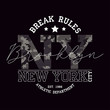 New York, Brooklyn t-shirt design with slogan - Break Rules and knitted camouflage texture. Typography graphics for tee shirt in military and army style with knit camo. Vector illustration.