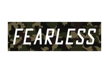 Fearless - Knitted Camouflage Slogan For T-shirt Design. Typography Graphics For Tee Shirt In Military And Army Style With Knit Camo. Vector Illustration.