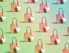 Many Shopping Bags With Small Heart Cushions