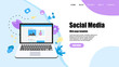 Web template with Social media concept with photo content, like and comment. Vector flat illustration