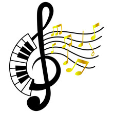 Piano Treble Clef With Music Note.