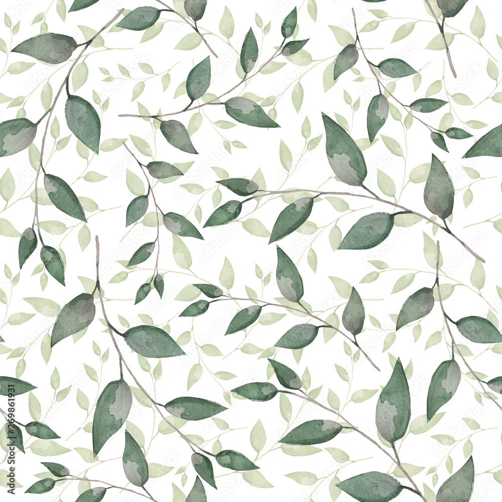 Fototapety, obrazy:  Pattern of watercolor leaves. Spring texture for printing on postcards, banner and textiles. Design for pastel linen and curtains
