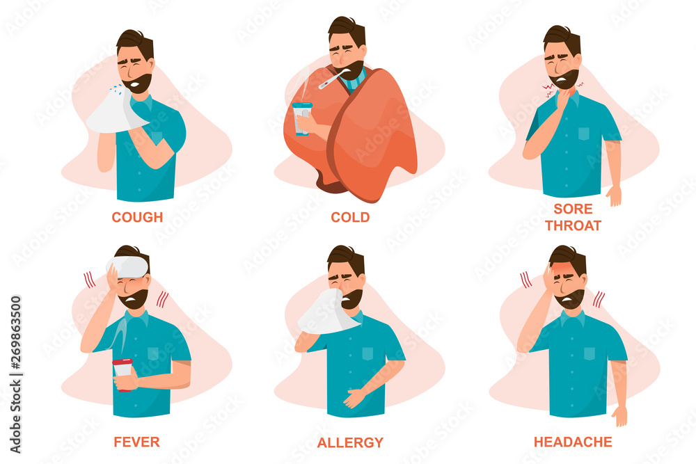 Fototapeta Set of sick people feeling unwell, cough, having cold, sore throat, fever, allergy and, headache