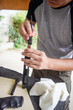 man cleaning gun