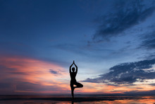 Silhouette Photo Of Woman Practicing Yoga At Sunset