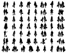 Silhouettes Of People In The S...