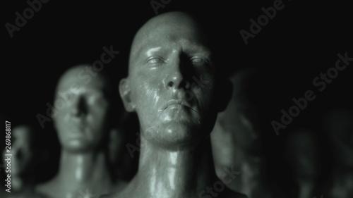 3D render. Cloning humanoid figures Canvas Print