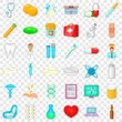 Medicine icons set. Cartoon style of 36 medicine vector icons for web for any design