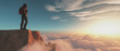 Leinwandbild Motiv Climber on top of a mountain
