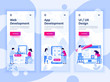 Set of onboarding screens user interface kit for Web and App Development, UI Design, mobile app templates concept. Modern UX, UI screen for mobile or responsive web site. Vector illustration.