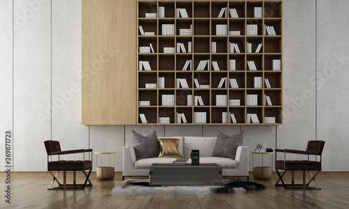 The Modern Living Room Interior Design And Bookshelf