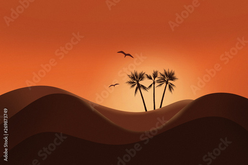 Poster Cuban Red Beautiful sunset and silhouette of desert landscape with glowing sky and Palm tree