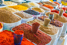 Spices And Dried Products Sold At The Chorsu Bazaar In Tashkent