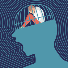 Sad Person Is Siting And Crying In A Screaming Head Prison. Concept Of  Depression. Flat Vector Illustration.