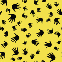 Seamless Vector EPS 10 Pattern With Hands. Teamwork Concept