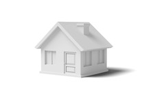 White Empty House On A Yellow Background Abstract Image. Minimal Concept Building Business. 3D Render.