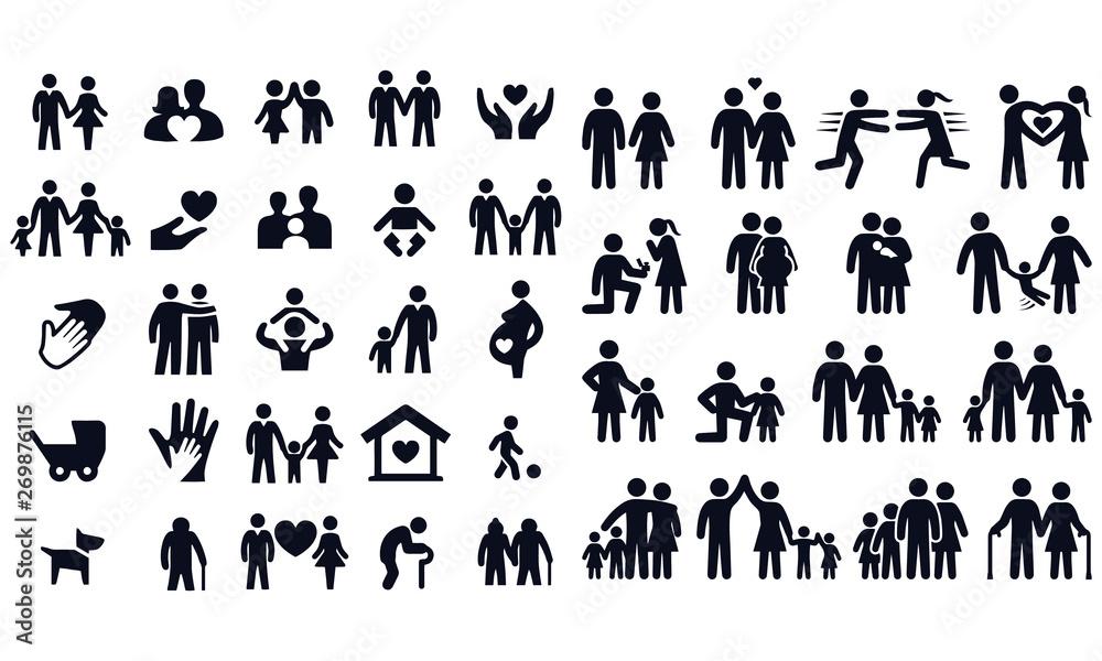 Fototapety, obrazy: Love and family life black & white icon set