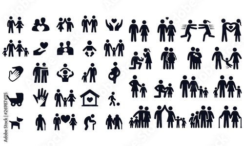 Cuadros en Lienzo  Love and family life black & white icon set