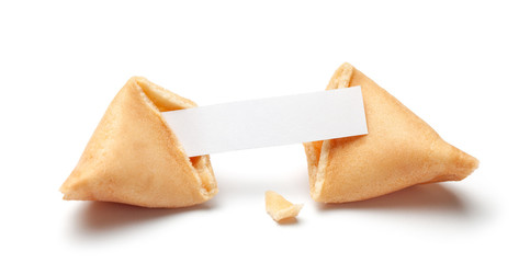 Chinese fortune cookies. Cookies with empty blank inside for prediction words. Isolated on white background.