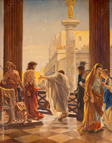Obraz na płótnie CATANIA, ITALY - APRIL 8, 2018: The Jesus before Pilate in church Chiesa di Santa Maria dei Miracoli by artist with the inicials G