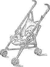 Sketch Of Baby Toy Carriage With A Doll