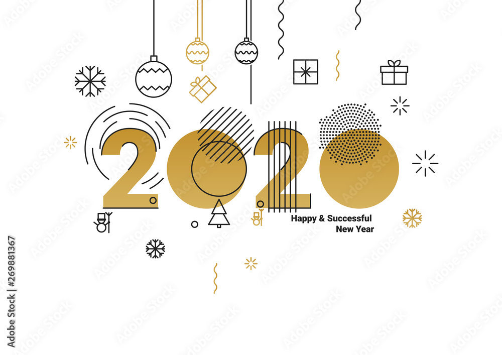 Fototapeta Business Happy New Year 2020 greeting card. Vector illustration concept for background, greeting card, banner for website, social media banner, marketing material.