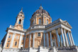 Superga basilica on Turin hills in a sunny summer day in Italy, Unesco heritage site