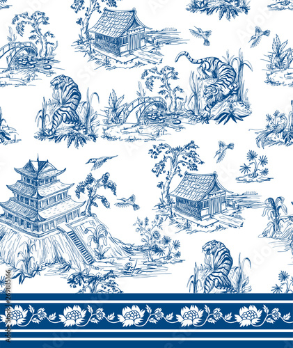 Stampa su Tela Seamless pattern in chinoiserie style for fabric or interior design