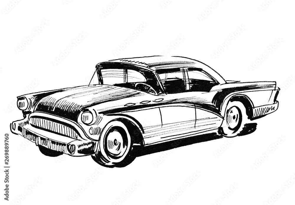 Fototapety, obrazy: Ink black and white drawing of a Classic American Car