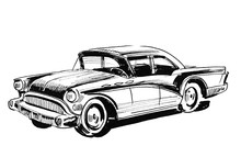 Ink Black And White Drawing Of A Classic American Car