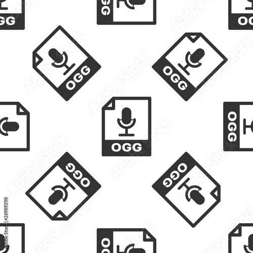 Grey OGG file document icon  Download ogg button icon