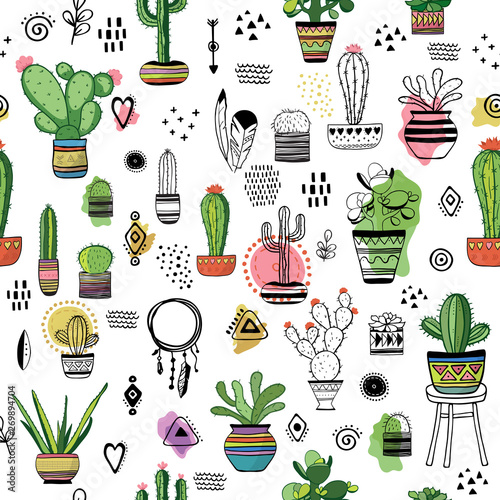 Türaufkleber Künstlich Cacti seamless colored pattern. Hand drawn decorative boho illustration with plants. Vector