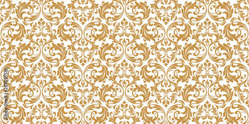Poster Artificiel Wallpaper in the style of Baroque. Seamless vector background. White and gold floral ornament. Graphic pattern for fabric, wallpaper, packaging. Ornate Damask flower ornament