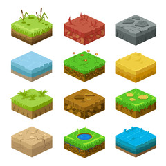 Soil layers vector isometric 3d set