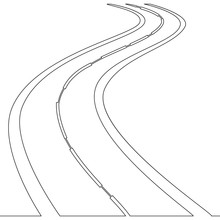 Continuous One Single Line Drawing Road Concept