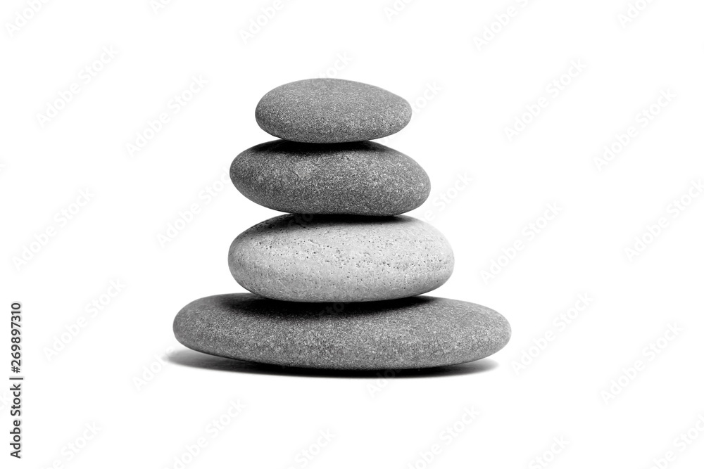 Fototapety, obrazy: Stacked smooth grey stones. Sea pebble. Balancing pebbles isolated on white background