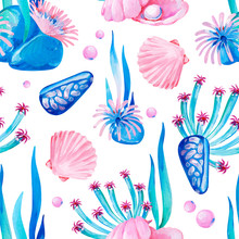 Gouache Seamless Undersea Pattern With Marine Life And Seashells