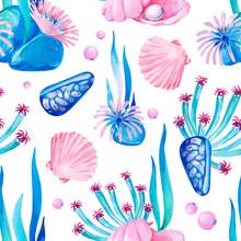 Gouache Seamless Undersea Pattern With Marine Life And Seashells